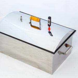 Коптильня с гидрозатвором «МАЛИНОВКА» овальная крышка,с чехлом