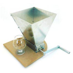 Двухвальцовая мельница/дробилка для солода с бункером и подставкой (нерж.сталь)